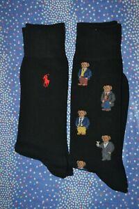 Polo Ralph Lauren Polo Bear & Solid Dress Socks 2 Pack Men's Sock Size 10-13 NIP