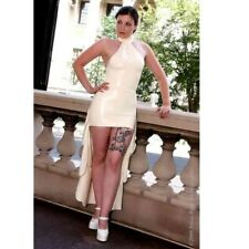 LATEX RUBBER DRESS unisex fetish  XS S M L XL  LONG DRESS white wedding