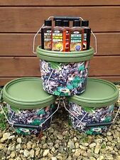 3 X 2.5L CAMO BAIT BUCKETS + 5 X INTENSE ATTRACTOR DIPS FOR CARP FISHING