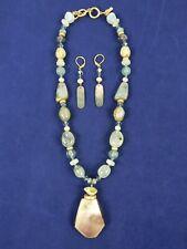 Artisan Gold Tone Blue Sea Foam Green Glass Beaded Pendant Necklace & Earrings