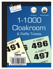 New Jumbo Cloakroom & Raffle Tickets Tombola Numbered Security Coded - 3 Styles