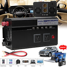 2000W/4000WATT Digital Car Power Inverter DC 12V to AC 110V Adapter Modifie