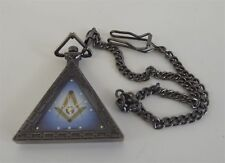 New Masonic Mason Triangle Pocket Watch With Case Freemasons  BLUE LODGE