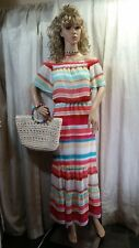 Striped off shoulder Ruffled sheer summery dress Belle Sky Petite Large NWT
