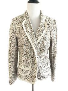 Express Floral Jacket Size 10 Vneck Paisley Long Sleeve Button Down Blazer Beige