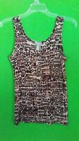 9339) CHICO'S TRAVELERS sz 0 black, brown, red pullover knit tank top