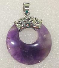 Pretty Natural Purple Russian Amethyst Gems Annularity Pendant 18KGP