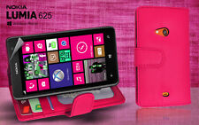 Pink Side ID Wallet Leather Case Cover for Nokia Lumia 625 + Screen Guard