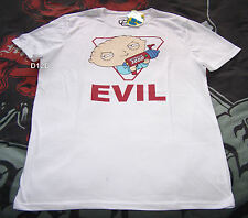 Family Guy Stewie Evil Mens White Printed T Shirt Size M New