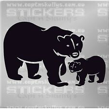 POLAR BEAR & CUB DECAL CAR, BOAT, HOUSE CAMPER 160mmx105mm 15 COLOURS TO CHOOSE
