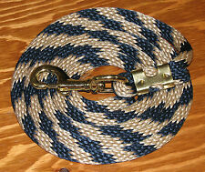 Horse Pony Plaited Poly Lead Rope Blue & White Heavy Swivel Snap 7.75' - New