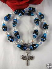 Artisan Blue Art Glass Dragonfly Necklace Cat Rescue