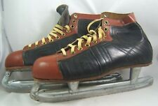 Vintage Silver Arrow Leather Ice Hockey Skates 12 Made Canada Man Cave Display