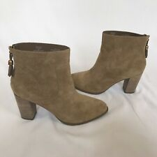 Anne Klein Women's Ankle Boots Size 8 Brown Suede Stacked Heel Niccie Booties
