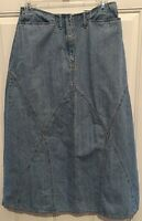 J. Jill Light Blue Denim Jean Long Modest Maxi Boho Skirt Sz 6P 100% Cotton VTG