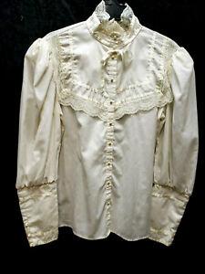 """Victorian vintage blouse Gunnie Sport Gunnie Sax off white preowned size 40"""""""