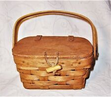 "1987 signed Longaberger 7"" divided basket w/ hinged lid, latch & plastic liner"