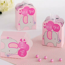 BABY SHOWER ELEPHANT Girl FAVOR BOX KITS (8) ~ Party Supplies Treat Loot Pink