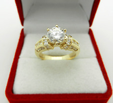 Solid 14k Yellow Gold Engagement Cubic Zirconia 1.25 ct Ring 6.0 grams