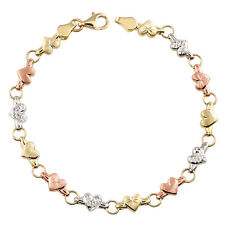 Gold Chain Link Bracelet 14K Tri Color Jewelry links Cute Gift for Women Girls
