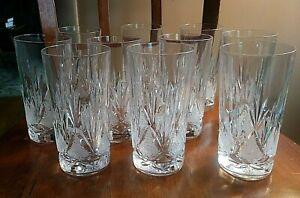 "10 Royal Crystal Rock 6"" Cut Highball Tumbler Glasses Pristine"
