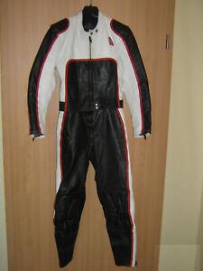 Vintage Krawehl Lederkombi Lederjacke Lederhose schwarz weiß Damen Kinder 40 S