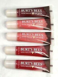5 BURT'S BEES Lip Shine 100% Natural  Pucker Lip Gloss Lip Burts Bees New Lot