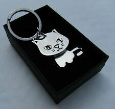 Cat Key Chain Chrome Metal Moving Cat Keyring Gift Boxed BRAND NEW