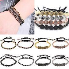 Handmade Men's Adjustable Braided Beads Macrame Wrap Bracelet Bangle Jewellery