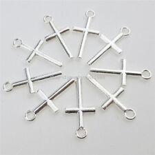12895 100PCS Alloy Silver Color Religious Mini Cross Pendant Charms