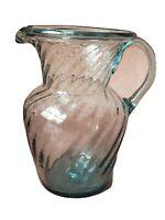 Vintage Mexican Handblown Blue Art Glass Swirl Decorative Pitcher with Handle