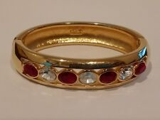 Vtg D.S.Co.Daniel Swarovski Bangle Bracelet Red White Crystal Rhinestone