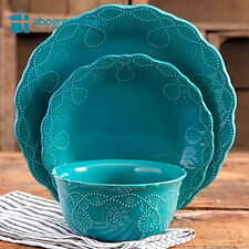 NEW 12 Piece Dinnerware Set Dinner Plates Bowls 4 of each Pioneer Woman TEAL