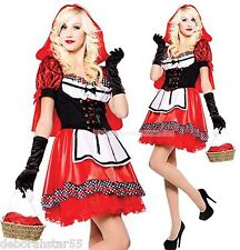Womens Deluxe Little Red Riding Hood Fancy Dress Costume Size Stretch  8 10 12