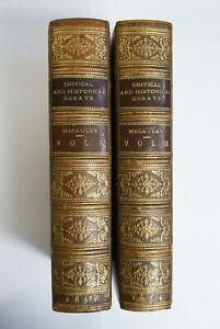 Macaulay: Critical & Historical Essays, Longman 1854 2 Vols, 100+ Extra Plates