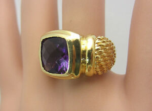 David Yurman Solid 18K Yellow Gold Amethyst RIng 11.9 grams