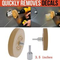 Yellow Rubber Decal Adhesive Eraser Pad Wheel Sticker Remover with Drill Adapter