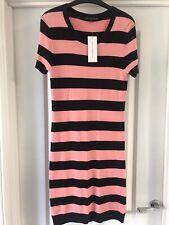 French Connection Size 12 Pink & Black Stripe Bodycon Dress BNWT £55