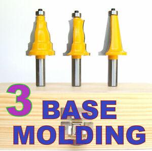 """3pc 1/2"""" SH Base Architectural Molding Router Bit Set S"""