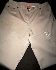 Hearts of Palm Petite sz.10P Khaki w/Slit Beaded Legs Capri Pants in EUC