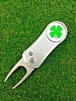Switchblade Golf Divot Tool w/ Lucky Irish Clover Removable Magnetic Ball Marker