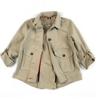 TOMMY HILFIGER Jacket Women's Cotton Stretch Khaki Lightweight Roll Sleeve
