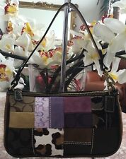 Coach Legacy Patchwork Holiday K05S-7071 Shoulder Bag Purse Handbag Suede Multi