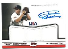 2011 Topps USA Baseball Troy Conyers RED TRIPLE GU JERSEY AUTO RC #02/25