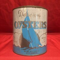Vintage DELICIOUS OYSTERS 1 Gallon Tin Can From CAPT FAUNCE SEAFOOD Montross, VA