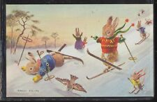 Fun on Skis by Racey Helps Medici Society Anthropomorphic Bunny Family on Slopes