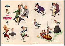 1956 The Drink as Seen by... Comedy Man Cave Decor 2 Page Vintage Print Ad