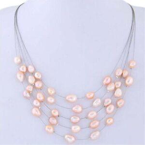Freshwater Pearls Beads Bib Choker Necklace Pendant Layered Collar Women Jewelry