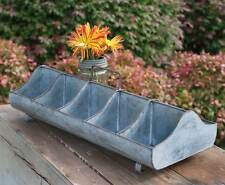 New Primitive Farmhouse Chic Metal FEED TROUGH Divided Tote Caddy Centerpiece