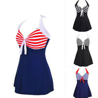 Womens One piece Swimwear Tankini Swimdress Striped Swimsuit Beachwear Plus Size